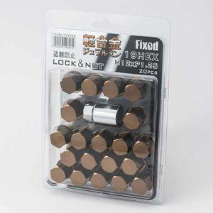 FIXED 軽合金 袋ロック&ナット 12×1.25 20個入り ブロンズ