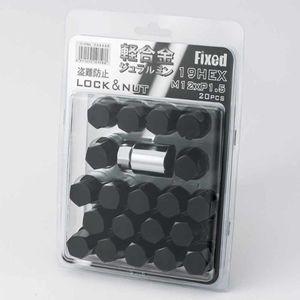 FIXED 軽合金 袋ロック&ナット 12×1.5 20個入り ブラック