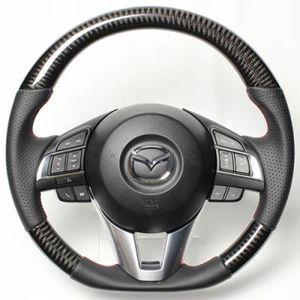 REAL ステアリング オリジナルシリーズ ブラックカーボン レッド×ブラックユーロステッチ MZA-BKC-RD マツダ車
